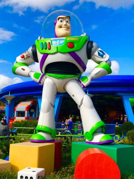 Witness Buzz Lightyear in action during your ride on wheelchairs rental in Orlando, FL