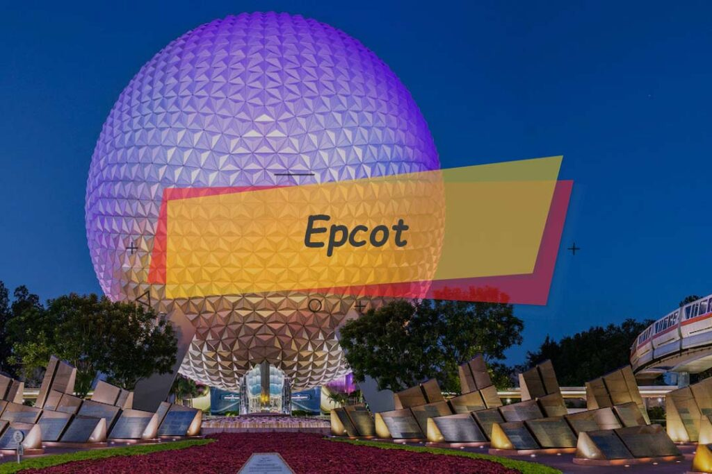 Epcot- Futuristic theme park in Orlando Scooter to drive on rental scooter.