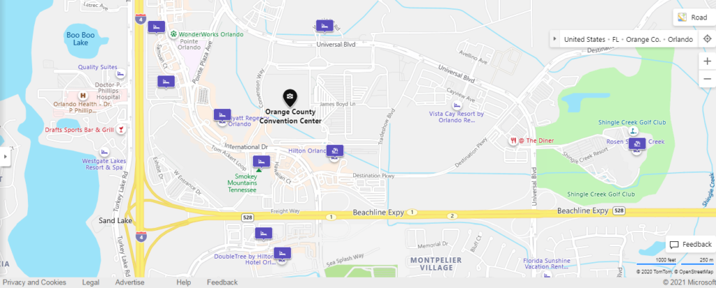 Orlando Convention Center Map with nearby hotels