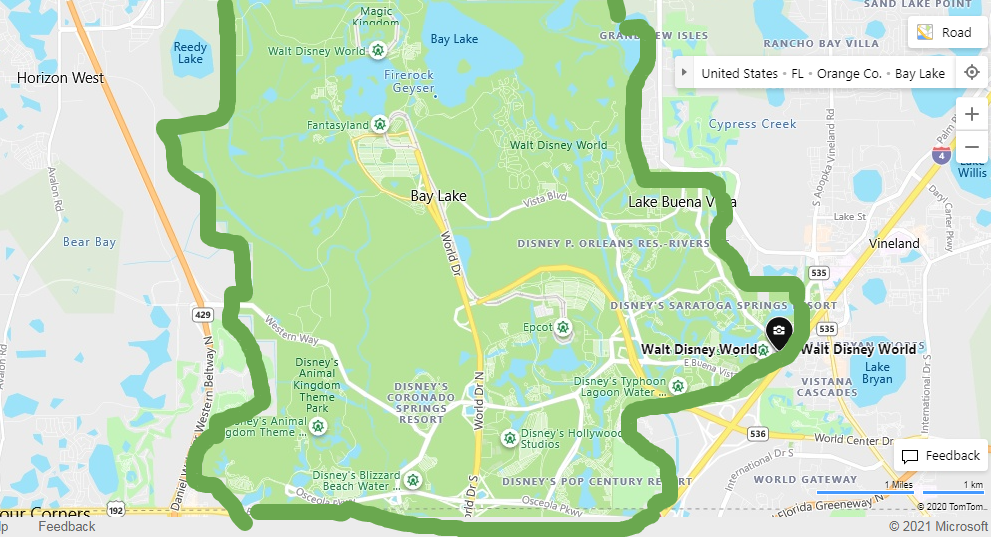 Walt Disney World Map with Location Highlighted-